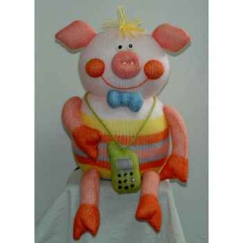 Peluches Animaux tricot - Cochon et telephone