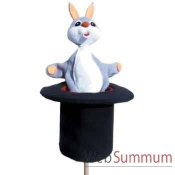Marionnette marotte Anima Scéna - Le lapin dans son chapeau - environ 53 cm - 11443