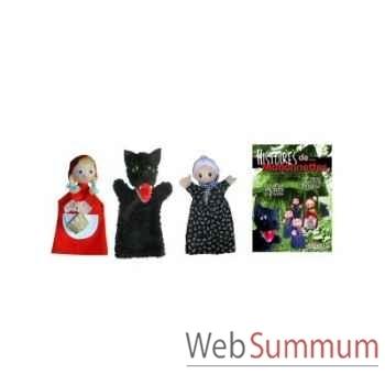 Ensemble marionnette Anima Scéna - trio Le Petit Chaperon Rouge avec l\'histoire - 22747l