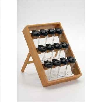 Chevalet 12 pots à épices en bambou 503012