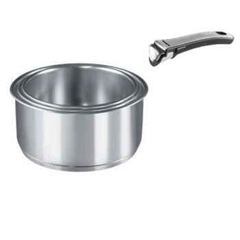 Tefal lot de 3 casseroles inox + poignée - ingenio inox gourmet 224190