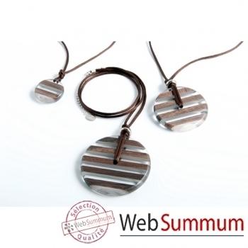 Bilbablue-collier Dixxi Woody 50, longueur 40 cm, diamètre disque 5 cm.