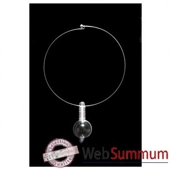 Bilbablue-Collier Circle sphère plexiglas, longueur 40 cm.