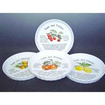 Philippe deshoulieres lot de 4 tourtière 30 cm porcelaine décor fruits 910105