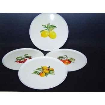 Philippe deshoulieres lot de 4 plats à tarte porcelaine décor  fruits 910106