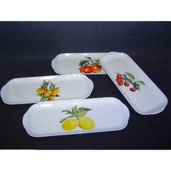 Philippe deshoulieres lot de 4 plats à  cake porcelaine décor  fruits 910107