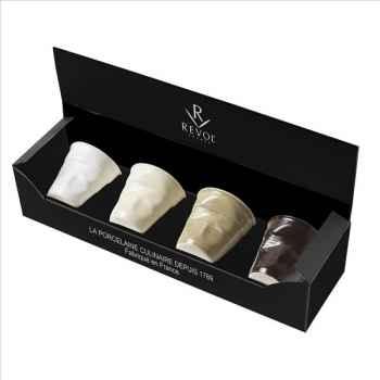 Revol coffret de 4 gobelets froissé 8 cl  - blanc/vanille/savane/chocolat 971