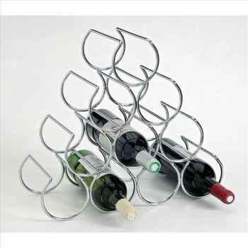 Porte 10 bouteilles acier chromé 1577