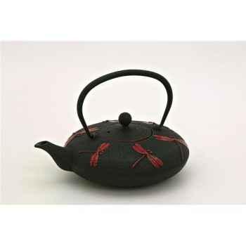 Théière fonte 0.8l noire - libellule rouge  2887