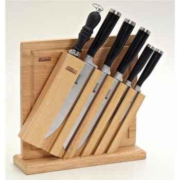 Bloc bois de 6 couteaux avec planche à découper 3089