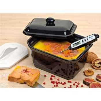 Emile henry coffret terrine à foie gras avec presse et thermomètre caviar - unicolor 3378