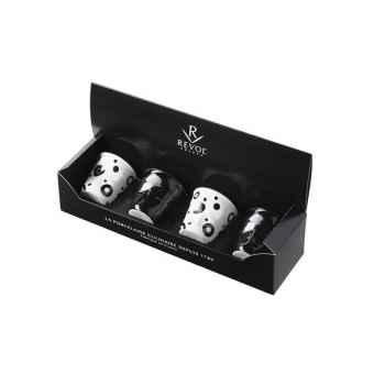 Revol coffret de 4 gobelets poppies blanches / noir brillant 8 cl - froissé 3599