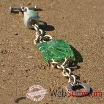Bijouxenverre-Bracelet longueur 20 cm-Verre thermoformé de 3x4cm associé à une perle en céramique-10BRA