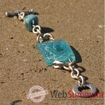 Bijouxenverre-Bracelet longueur 20cm.Verre thermoformé de 3x4cm associé à une perle en céramique-05BRA