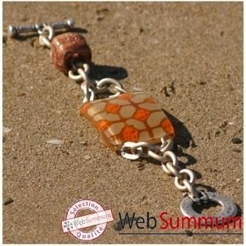 Bijouxenverre-Bracelet longueur 20 cm-Verre thermoformé de 3x4cm associé à une perle en céramique-06BRA
