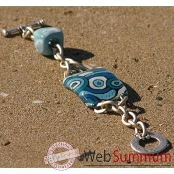 Bijouxenverre-Bracelet longueur 20 cm-Verre thermoformé de 3x4cm associé à une perle en céramique-07BRA