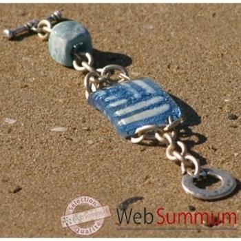Bijouxenverre-Bracelet longueur 20 cm-Verre thermoformé de 3x4cm associé à une perle en céramique-08BRA