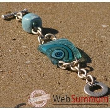Bijouxenverre-Bracelet longueur 20 cm-Verre thermoformé de 3x4cm associé à une perle en céramique-09BRA