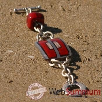 Bijouxenverre-Bracelet longueur 20cm.Verre thermoformé de 3x4cm associé à une perle en céramique-04BRA