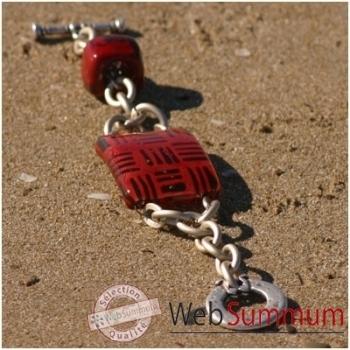 Bijouxenverre-Bracelet longueur 20cm.Verre thermoformé de 3x4cm associé à une perle en céramique-03BRA