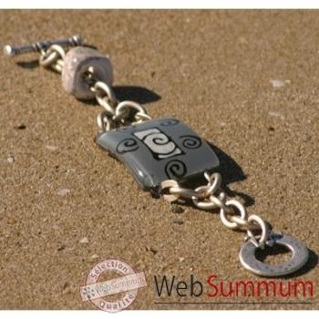 Bijouxenverre-Bracelet longueur 20cm.Verre thermoformé de 3x4cm associé à une perle en céramique-02BRA