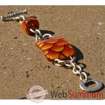 Bijouxenverre-Bracelet longueur 20cm.Verre thermoformé de 3x4cm associé à une perle en céramique-01BRA