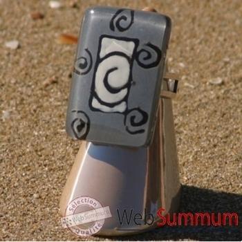 Bijouxenverre-Bague avec anneau ajustable en plaqué argent 20 microns-02BRE