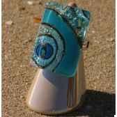 bijouxenverre bague avec anneau ajustable en plaque argent 20 microns 09bre