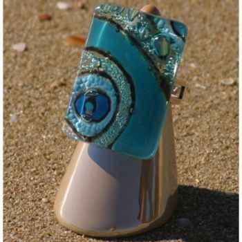 Bijouxenverre-Bague avec anneau ajustable en plaqué argent 20 microns-09BRE
