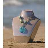 bijouxenverre collier longueur 42cm piece de verre 09cr45