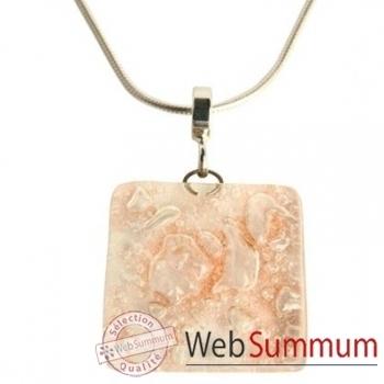 BcommeB-Pendentif carré avec chaine argent-cca68w