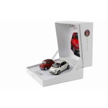 Coffret fiat 500  50 anni blanche et rouge  Norev 770029