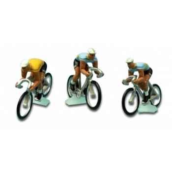 Equipe 3 cyclistes centre-midi avec maillot jaune tdf 1958 Norev EC4020