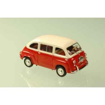 Fiat 600 multipla rouge et blanc 1963 Norev 770052
