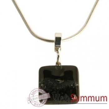 BcommeB-Pendentif carré puce avec chaine argent-ccp2w