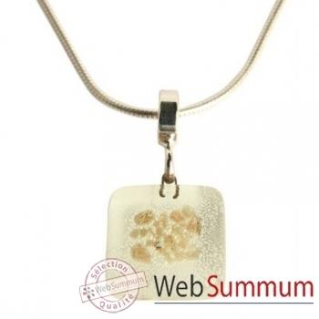 BcommeB-Pendentif carré puce avec chaine argent-ccp9w