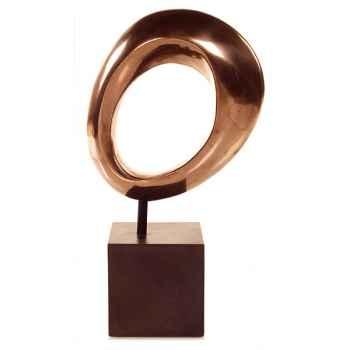 Sculpture Hoop Table Sculpture Box Pedestal, aluminium et fer -bs1711alu -iro