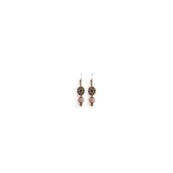Joyaux de la couronne-Boucle d'oreille tube/perle/filigrane fusains-botpffus