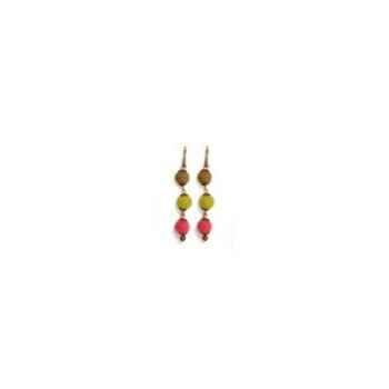 Joyaux de la couronne-Boucles d'oreille créole/3boules feutre fresques-bo3bffre