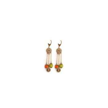 Joyaux de la couronne-Boucle d'oreille feutre perles chaîne fresques-bofchfre