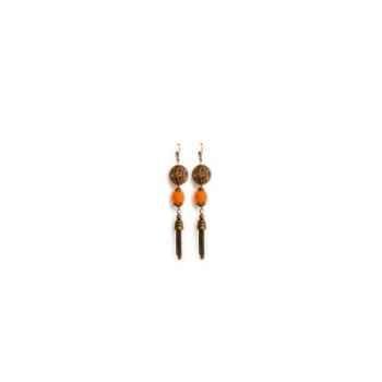 Joyaux de la couronne-Boucle d'oreille perle filigrane/feutre/gland lys-boffglys
