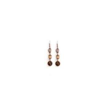 Joyaux de la couronne-Boucle d'oreille feutre/perle/filigrane fusains-bofpffus