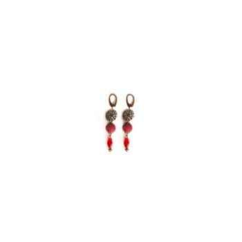 Joyaux de la couronne-Boucle d'oreille médaille/feutre/perle capiteux-bomfpcap