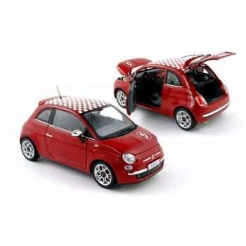 Fiat 500 sport rouge toit damier 2007  Norev 187728