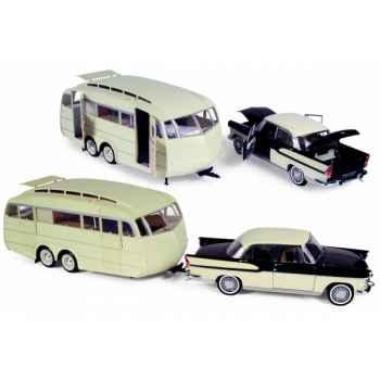 Simca chambord ivoire / noir diamant1958+caravane hénon1955 Norev 185724
