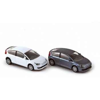 Coffret 4 citroën c4 coupé 2004 iron grey / white  Norev 155495