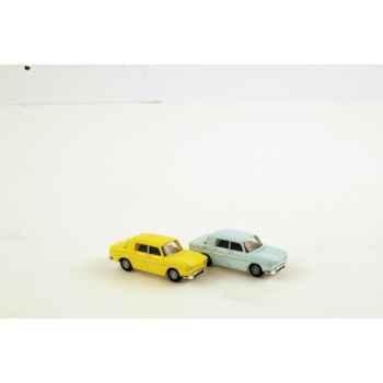 Coffret 4 x renault 8 bleu pastel / jaune 1962 Norev 512789