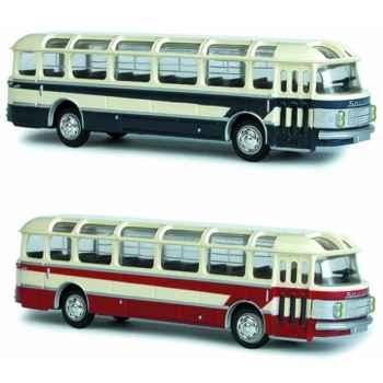 Coffret de 4 bus saviem beige et rouge et beige et bleu ho Norev 521002