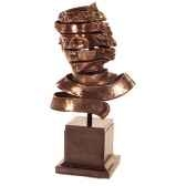 sculpture ribbon head bust bronze nouveau et fer bs1728nb iro