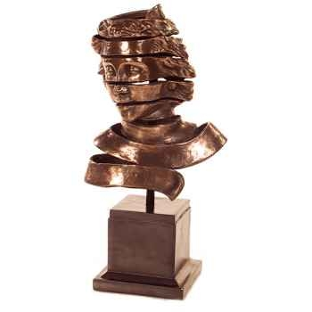 Sculpture Ribbon Head Bust, bronze nouveau et fer -bs1728nb -iro